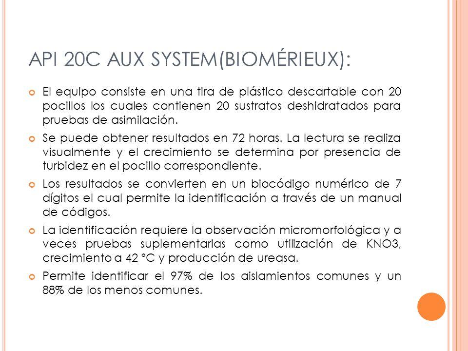 API 20C AUX SYSTEM(BIOMÉRIEUX): El equipo consiste en una tira de plástico descartable con 20 pocillos los cuales contienen 20 sustratos deshidratados para pruebas de asimilación.