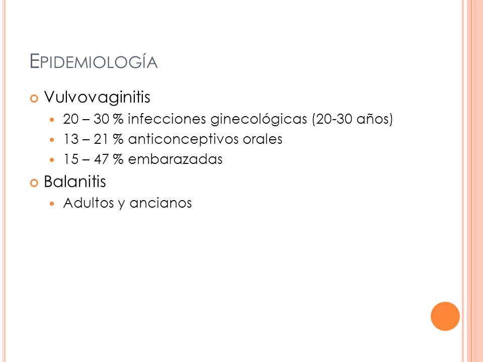 E PIDEMIOLOGÍA Vulvovaginitis 20 – 30 % infecciones ginecológicas (20-30 años) 13 – 21 % anticonceptivos orales 15 – 47 % embarazadas Balanitis Adulto