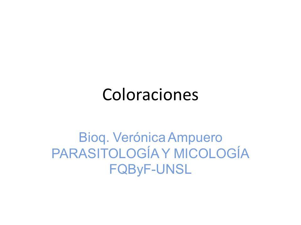 Coloraciones Bioq. Verónica Ampuero PARASITOLOGÍA Y MICOLOGÍA FQByF-UNSL