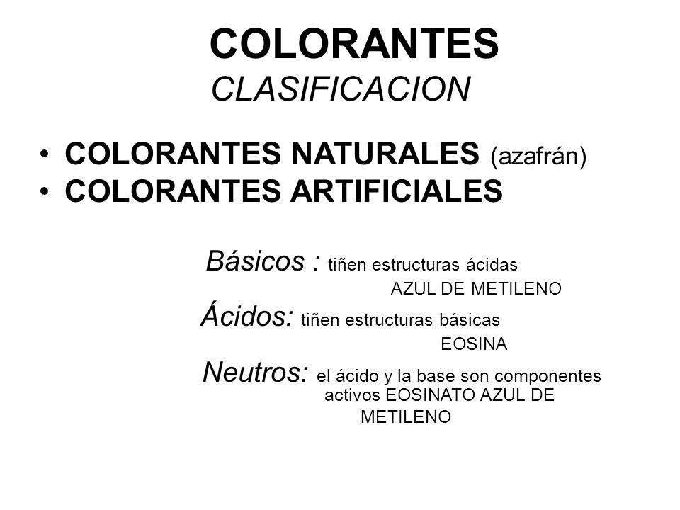 COLORANTES CLASIFICACION COLORANTES NATURALES (azafrán) COLORANTES ARTIFICIALES Básicos : tiñen estructuras ácidas AZUL DE METILENO Ácidos: tiñen estr