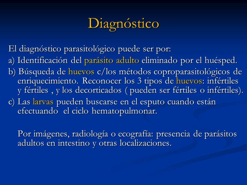 Diagnóstico El diagnóstico parasitológico puede ser por: a) Identificación del parásito adulto eliminado por el huésped. b) Búsqueda de huevos c/los m