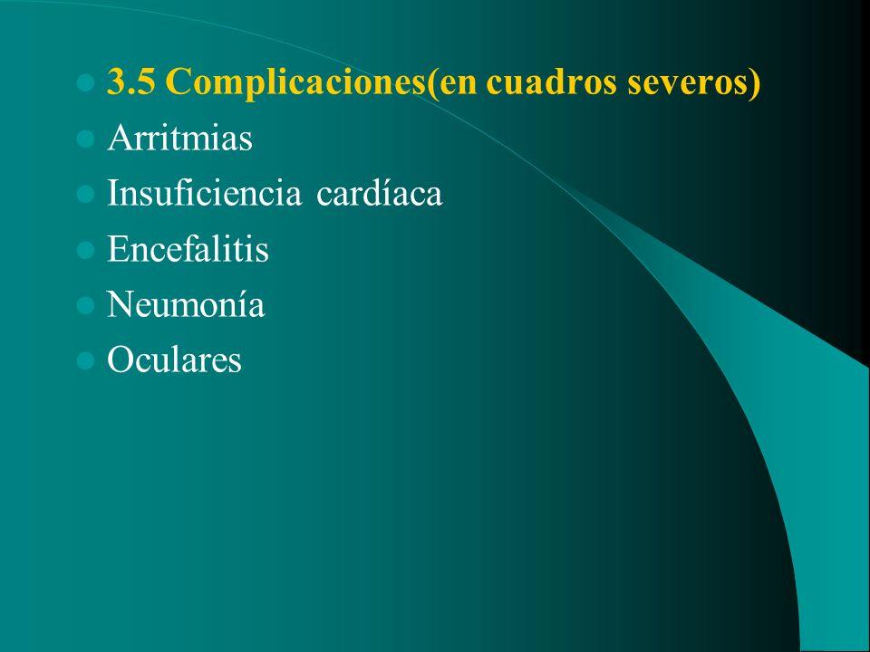 3.5 Complicaciones(en cuadros severos) Arritmias Insuficiencia cardíaca Encefalitis Neumonía Oculares