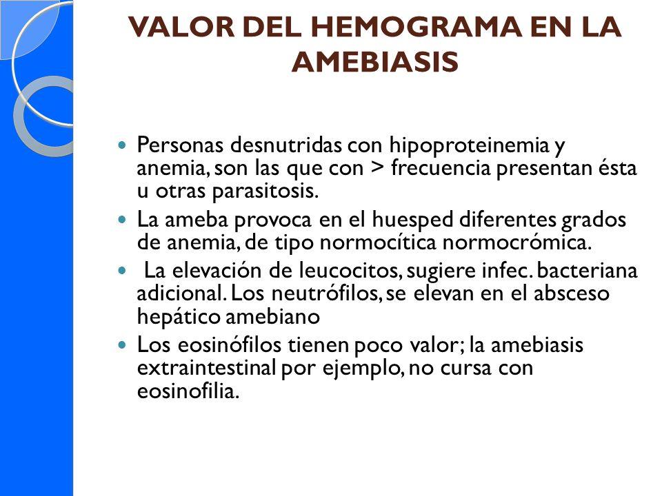 VALOR DEL HEMOGRAMA EN LA AMEBIASIS Personas desnutridas con hipoproteinemia y anemia, son las que con > frecuencia presentan ésta u otras parasitosis
