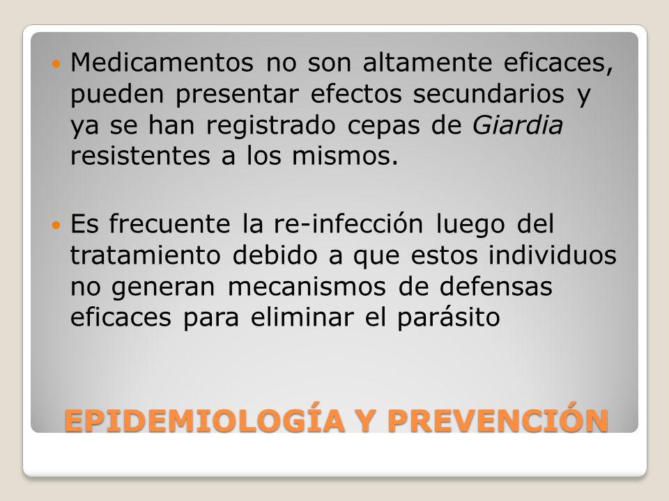EPIDEMIOLOGÍA Y PREVENCIÓN Medicamentos no son altamente eficaces, pueden presentar efectos secundarios y ya se han registrado cepas de Giardia resist