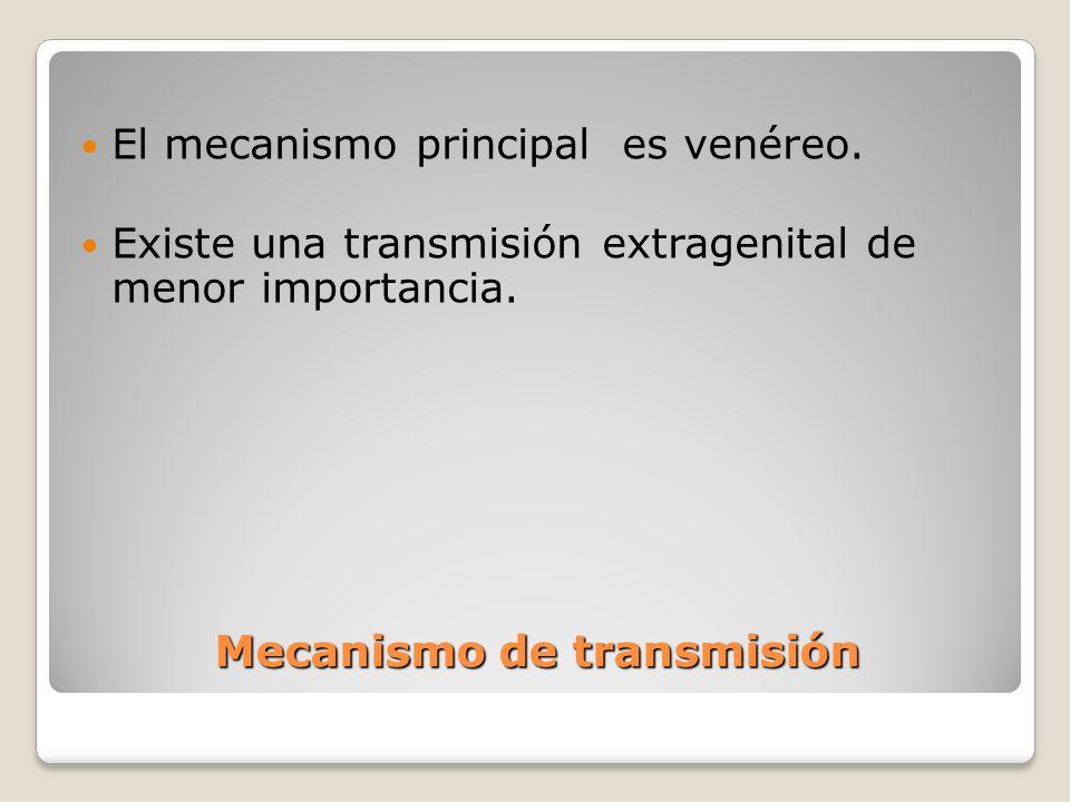 Mecanismo de transmisión El mecanismo principal es venéreo. Existe una transmisión extragenital de menor importancia.
