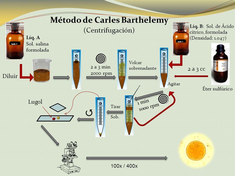Método de Carles Barthelemy (Centrifugación) Líq. A Sol. salina formolada Diluir 2 a 3 min 2000 rpm Volcar sobrenadante Éter sulfúrico Líq. B: Sol. de