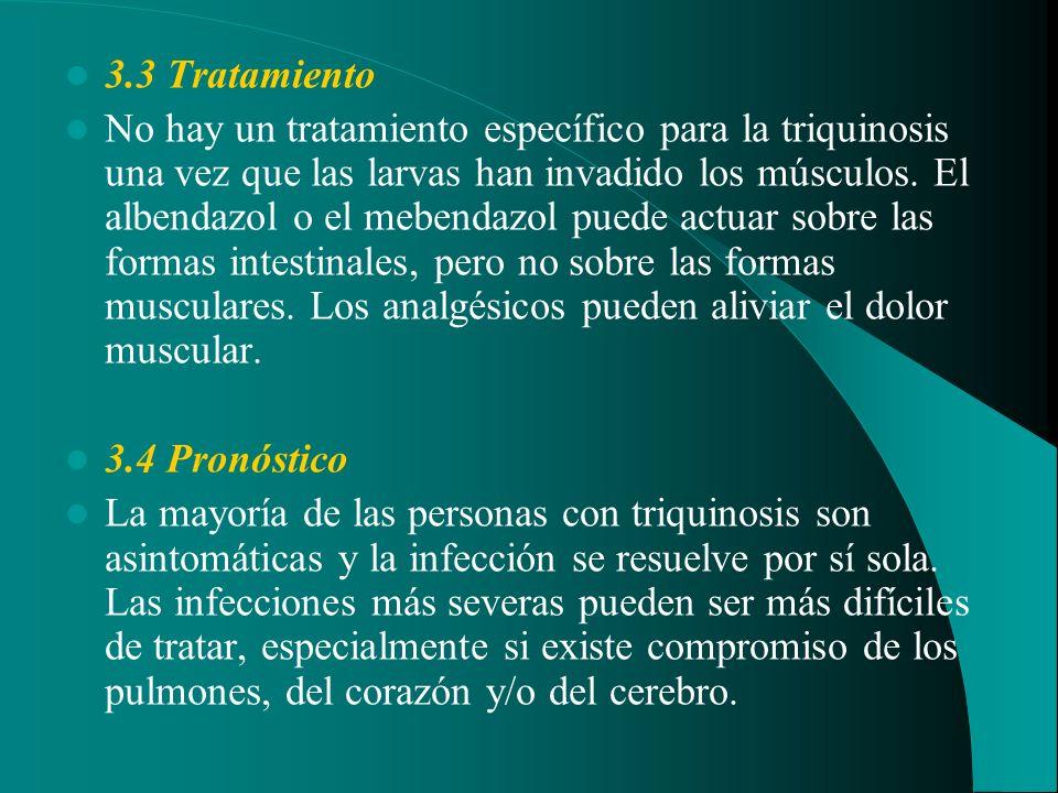 3.3 Tratamiento No hay un tratamiento específico para la triquinosis una vez que las larvas han invadido los músculos. El albendazol o el mebendazol p