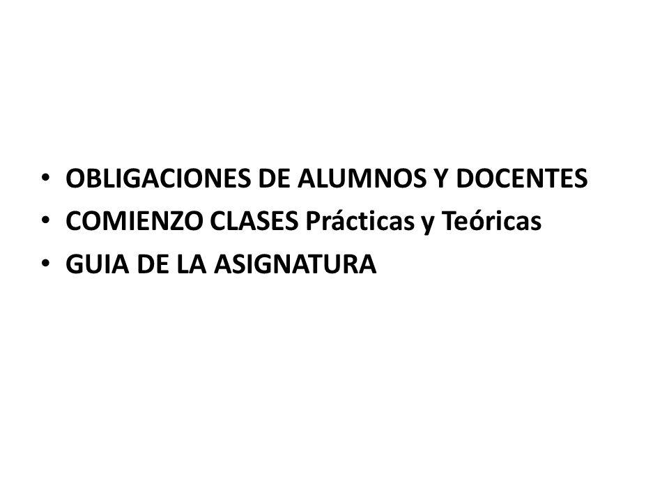 OBLIGACIONES DE ALUMNOS Y DOCENTES COMIENZO CLASES Prácticas y Teóricas GUIA DE LA ASIGNATURA