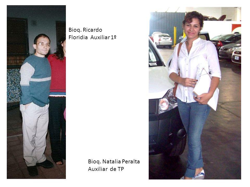 Bioq. Ricardo Floridia Auxiliar 1º Bioq. Natalia Peralta Auxiliar de TP