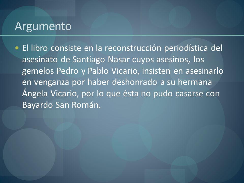 Argumento El libro consiste en la reconstrucción periodística del asesinato de Santiago Nasar cuyos asesinos, los gemelos Pedro y Pablo Vicario, insis