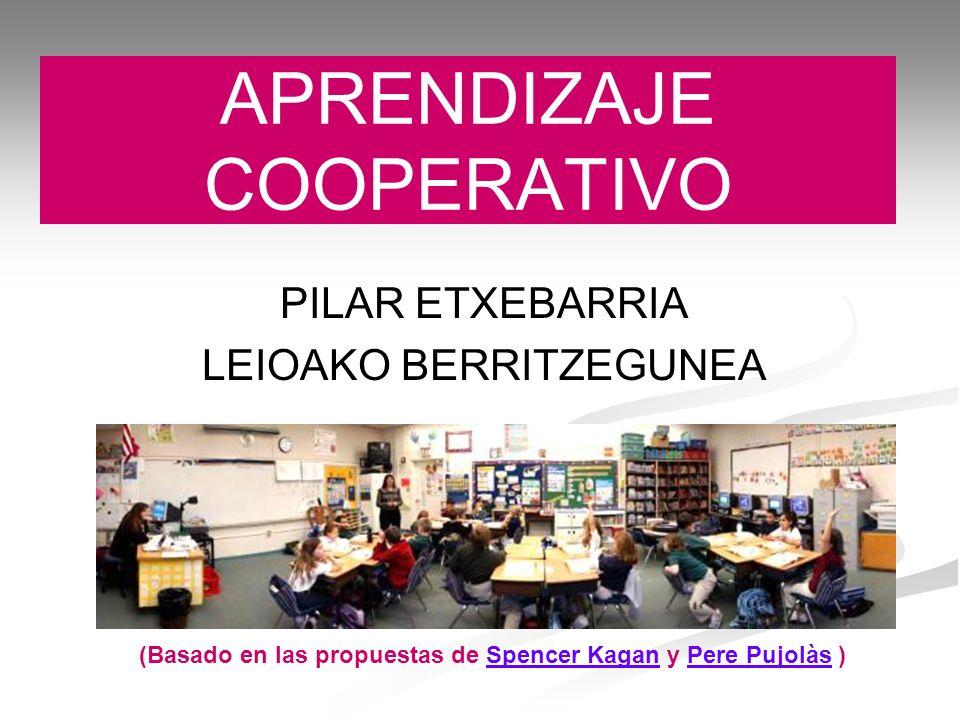 APRENDIZAJE COOPERATIVO PILAR ETXEBARRIA LEIOAKO BERRITZEGUNEA (Basado en las propuestas de Spencer Kagan y Pere Pujolàs )Spencer KaganPere Pujolàs
