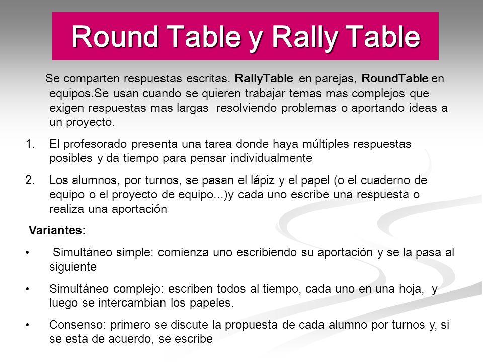 Round Table y Rally Table Se comparten respuestas escritas. RallyTable en parejas, RoundTable en equipos.Se usan cuando se quieren trabajar temas mas