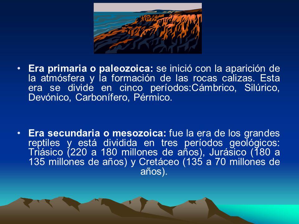 Era primaria o paleozoica: se inició con la aparición de la atmósfera y la formación de las rocas calizas. Esta era se divide en cinco períodos:Cámbri