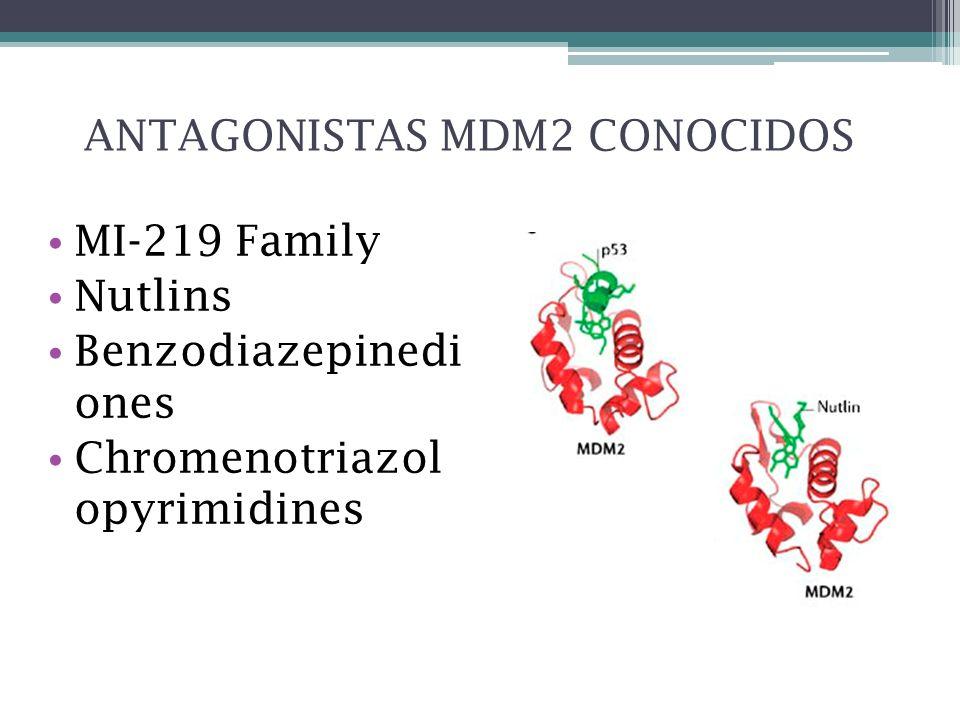 ANTAGONISTAS MDM2 CONOCIDOS MI-219 Family Nutlins Benzodiazepinedi ones Chromenotriazol opyrimidines