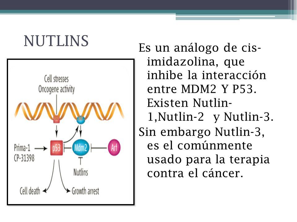 NUTLINS Es un análogo de cis- imidazolina, que inhibe la interacción entre MDM2 Y P53. Existen Nutlin- 1,Nutlin-2 y Nutlin-3. Sin embargo Nutlin-3, es