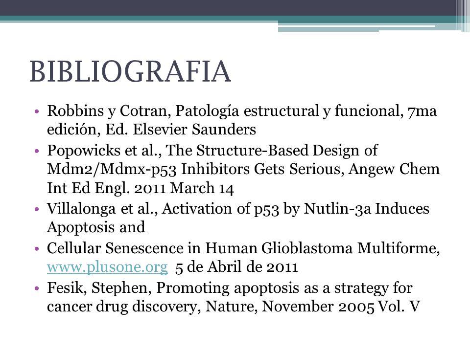 BIBLIOGRAFIA Robbins y Cotran, Patología estructural y funcional, 7ma edición, Ed. Elsevier Saunders Popowicks et al., The Structure-Based Design of M