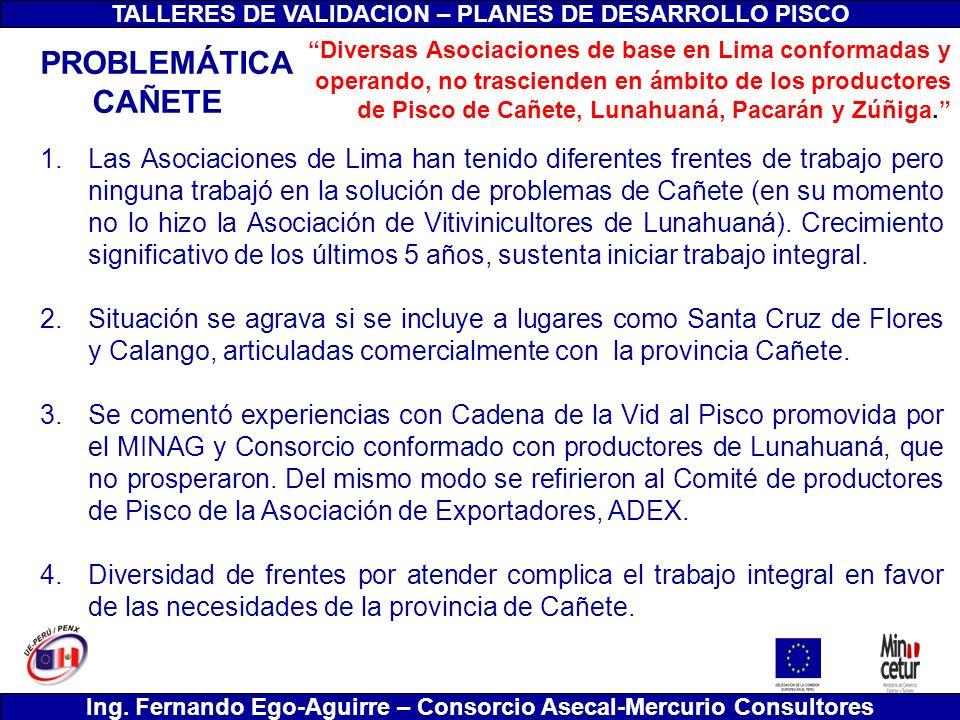 TALLERES DE VALIDACION – PLANES DE DESARROLLO PISCO Ing. Fernando Ego-Aguirre – Consorcio Asecal-Mercurio Consultores 1.Las Asociaciones de Lima han t