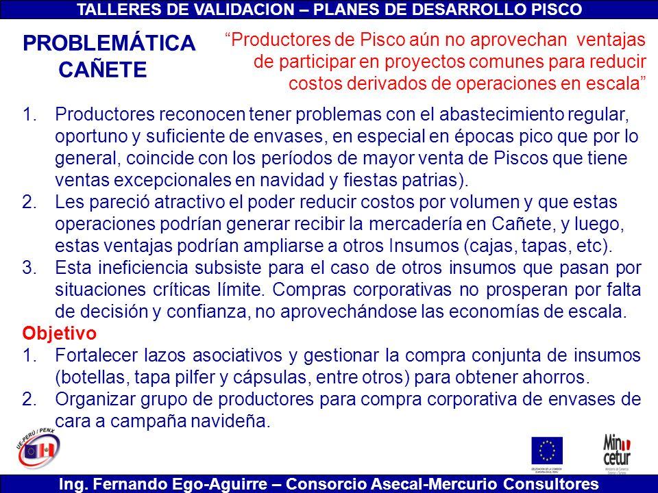 TALLERES DE VALIDACION – PLANES DE DESARROLLO PISCO Ing. Fernando Ego-Aguirre – Consorcio Asecal-Mercurio Consultores 1.Productores reconocen tener pr