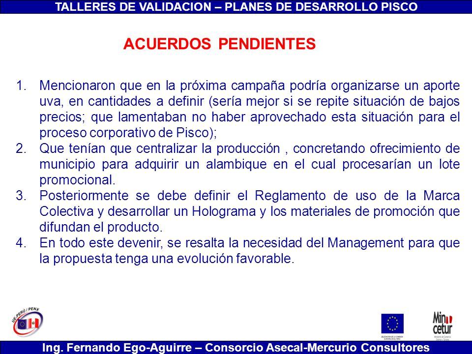 TALLERES DE VALIDACION – PLANES DE DESARROLLO PISCO Ing. Fernando Ego-Aguirre – Consorcio Asecal-Mercurio Consultores 1.Mencionaron que en la próxima