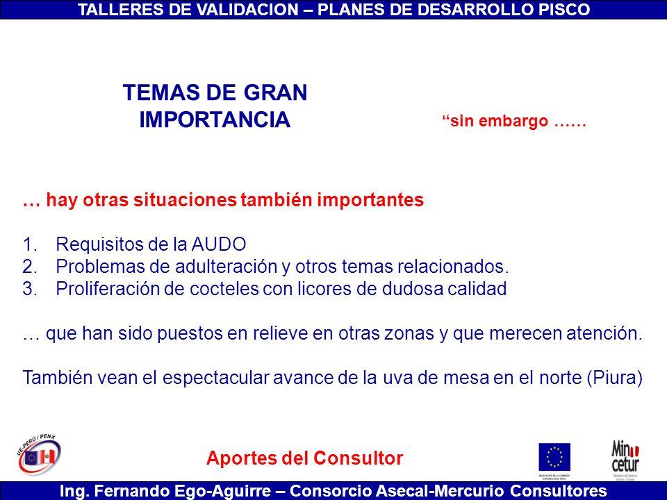 TALLERES DE VALIDACION – PLANES DE DESARROLLO PISCO Ing. Fernando Ego-Aguirre – Consorcio Asecal-Mercurio Consultores … hay otras situaciones también