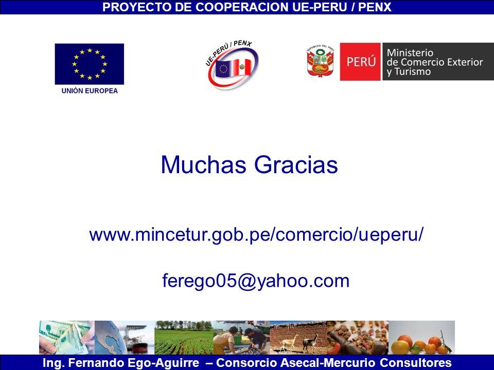 PROYECTO DE COOPERACION UE-PERU / PENX Ing. Fernando Ego-Aguirre – Consorcio Asecal-Mercurio Consultores Muchas Gracias www.mincetur.gob.pe/comercio/u