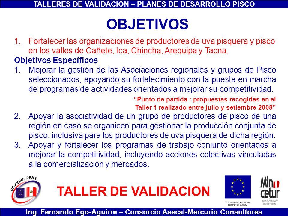 TALLERES DE VALIDACION – PLANES DE DESARROLLO PISCO Ing. Fernando Ego-Aguirre – Consorcio Asecal-Mercurio Consultores 1.Fortalecer las organizaciones