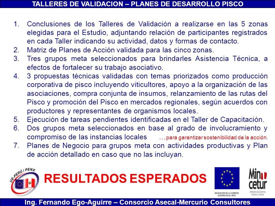 TALLERES DE VALIDACION – PLANES DE DESARROLLO PISCO Ing. Fernando Ego-Aguirre – Consorcio Asecal-Mercurio Consultores 1.Conclusiones de los Talleres d
