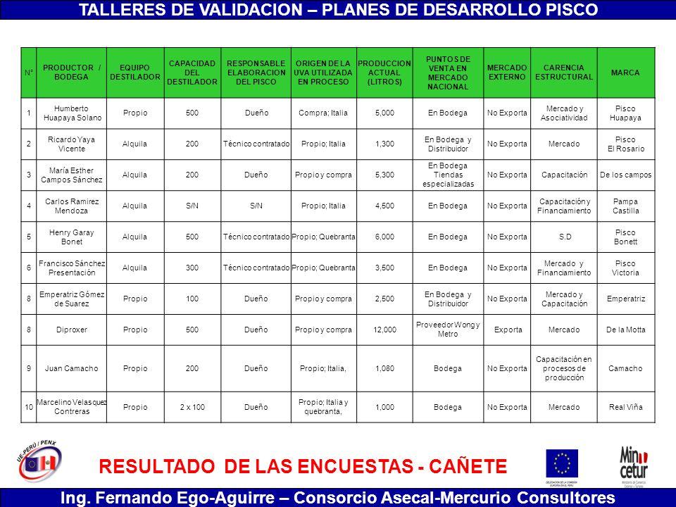 TALLERES DE VALIDACION – PLANES DE DESARROLLO PISCO Ing. Fernando Ego-Aguirre – Consorcio Asecal-Mercurio Consultores RESULTADO DE LAS ENCUESTAS - CAÑ