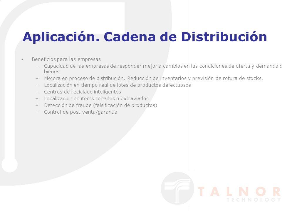 Aplicación. Cadena de Distribución Beneficios para las empresas –Capacidad de las empresas de responder mejor a cambios en las condiciones de oferta y