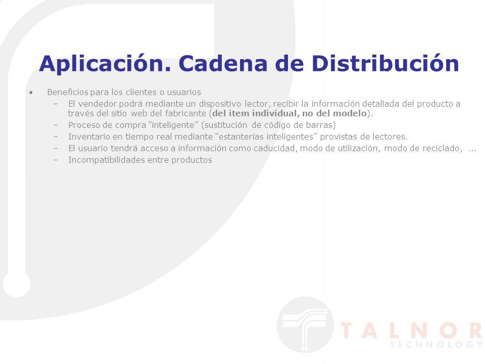 Aplicación. Cadena de Distribución Beneficios para los clientes o usuarios –El vendedor podrá mediante un dispositivo lector, recibir la información d