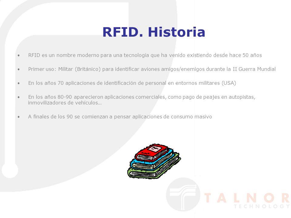 RFID. Historia RFID es un nombre moderno para una tecnología que ha venido existiendo desde hace 50 años Primer uso: Militar (Británico) para identifi