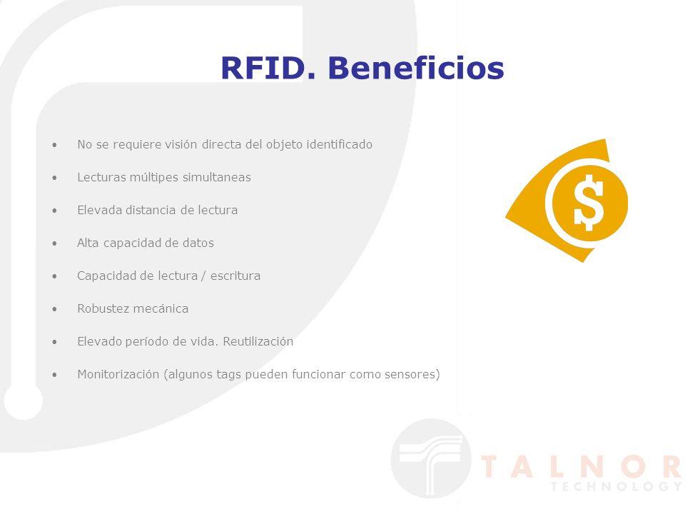RFID. Beneficios No se requiere visión directa del objeto identificado Lecturas múltipes simultaneas Elevada distancia de lectura Alta capacidad de da