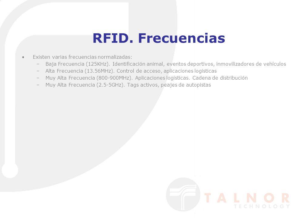 RFID. Frecuencias Existen varias frecuencias normalizadas: –Baja Frecuencia (125KHz). Identificación animal, eventos deportivos, inmovilizadores de ve