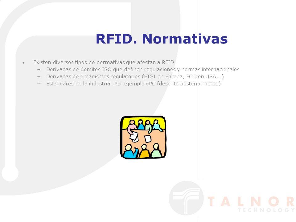 RFID. Normativas Existen diversos tipos de normativas que afectan a RFID –Derivadas de Comités ISO que definen regulaciones y normas internacionales –