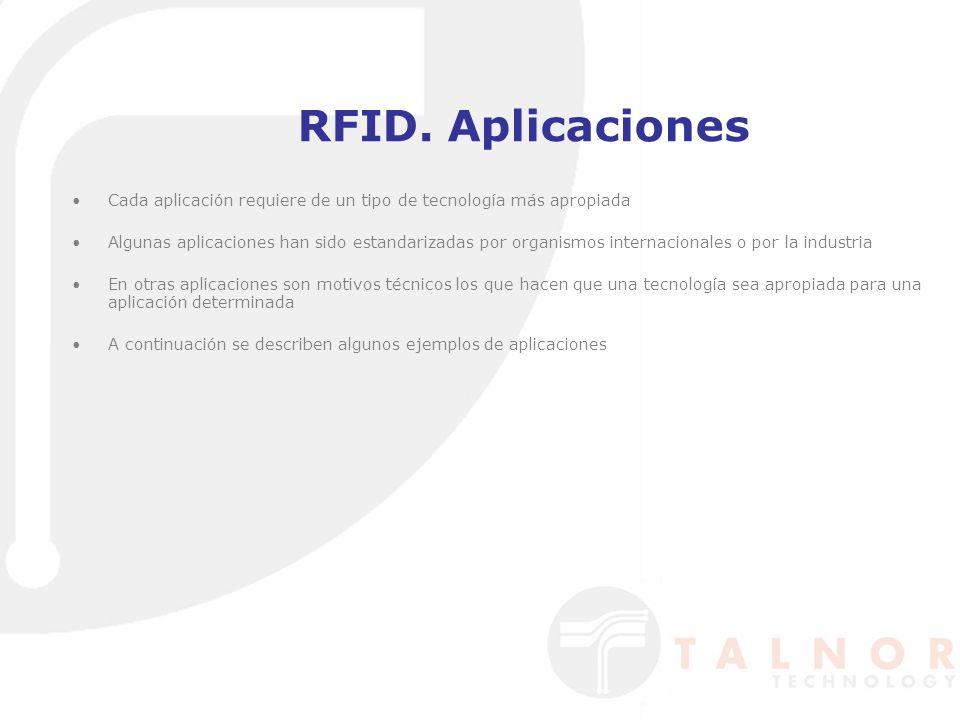 RFID. Aplicaciones Cada aplicación requiere de un tipo de tecnología más apropiada Algunas aplicaciones han sido estandarizadas por organismos interna