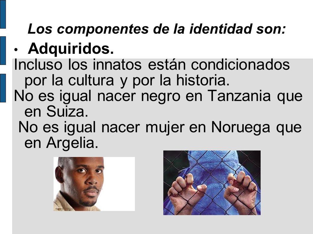 Los componentes de la identidad son: Adquiridos. Incluso los innatos están condicionados por la cultura y por la historia. No es igual nacer negro en