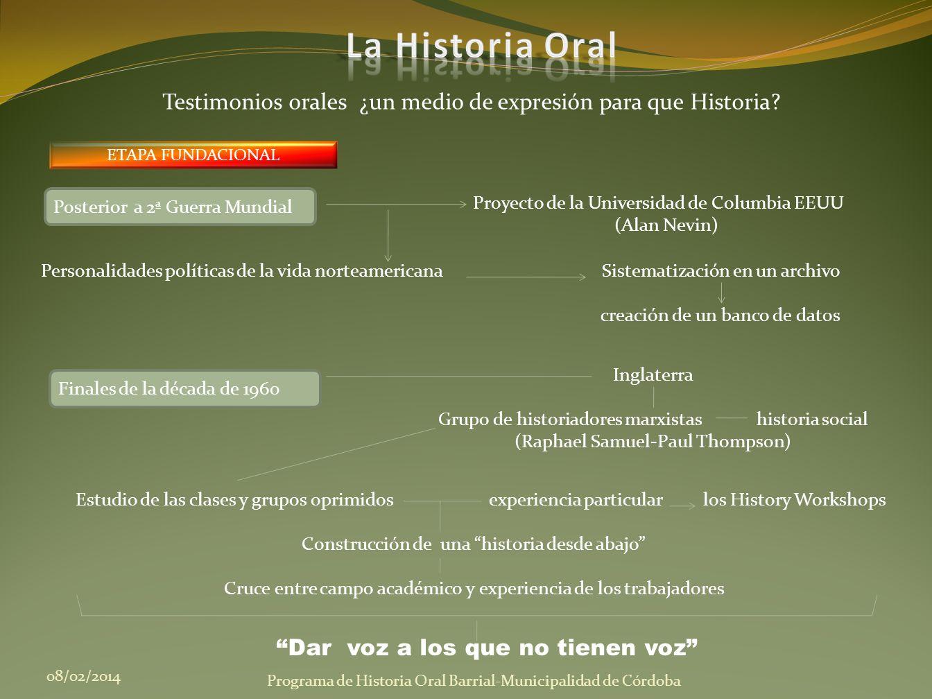 ETAPA FUNDACIONAL 08/02/2014 Programa de Historia Oral Barrial-Municipalidad de Córdoba Testimonios orales ¿un medio de expresión para que Historia? P