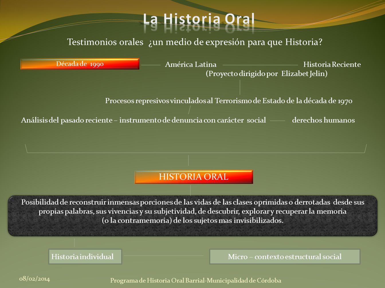 Década de 1990 08/02/2014 Programa de Historia Oral Barrial-Municipalidad de Córdoba Testimonios orales ¿un medio de expresión para que Historia? Posi