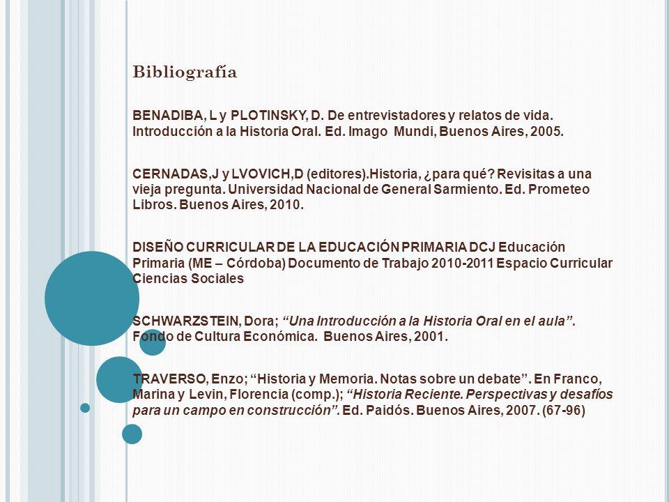 Bibliografía BENADIBA, L y PLOTINSKY, D. De entrevistadores y relatos de vida. Introducción a la Historia Oral. Ed. Imago Mundi, Buenos Aires, 2005. C
