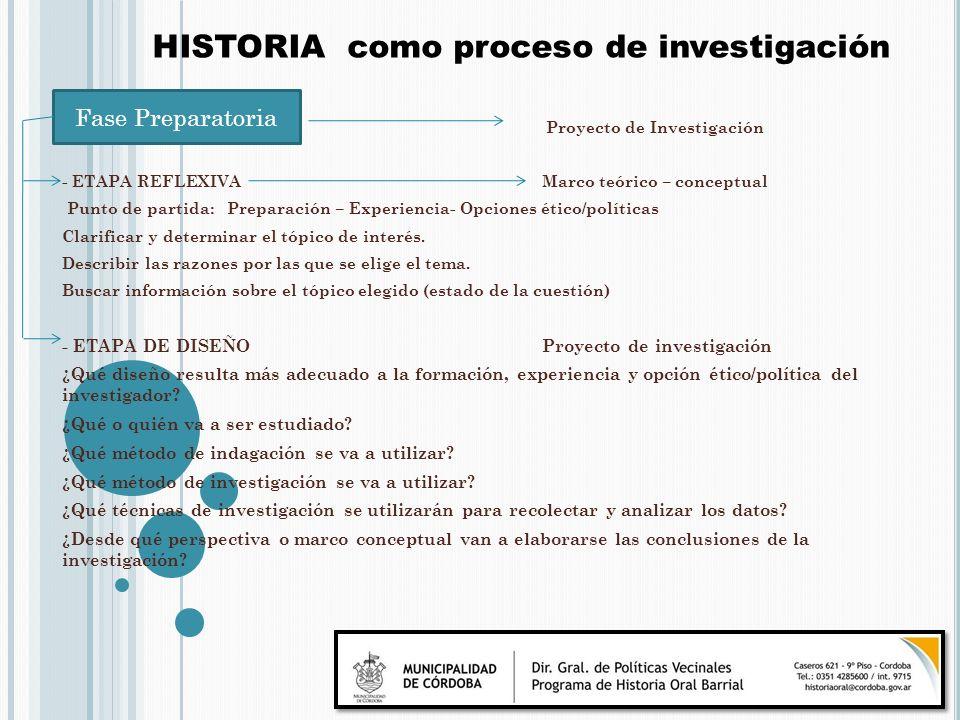 Proyecto de Investigación - ETAPA REFLEXIVAMarco teórico – conceptual Punto de partida: Preparación – Experiencia- Opciones ético/políticas Clarificar