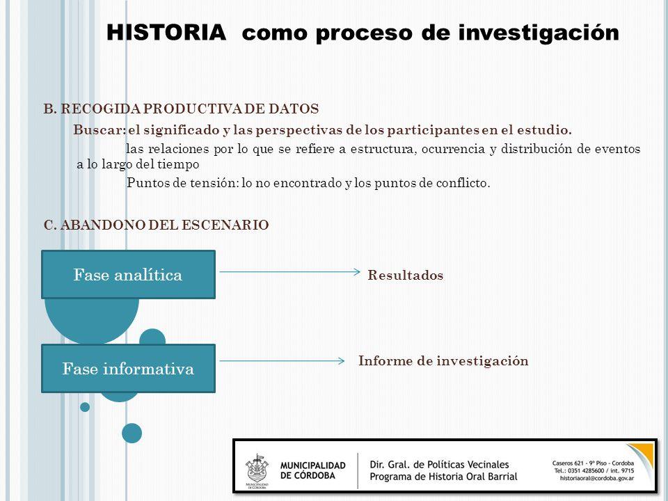 B. RECOGIDA PRODUCTIVA DE DATOS Buscar: el significado y las perspectivas de los participantes en el estudio. las relaciones por lo que se refiere a e