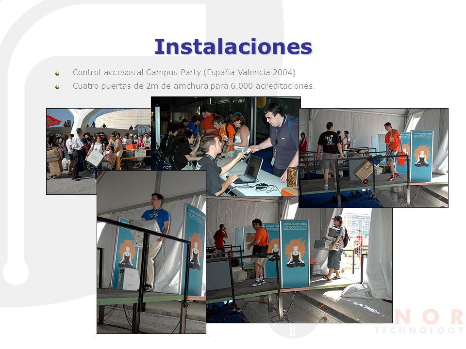 Instalaciones Control accesos al Campus Party (España Valencia 2004) Cuatro puertas de 2m de amchura para 6.000 acreditaciones.