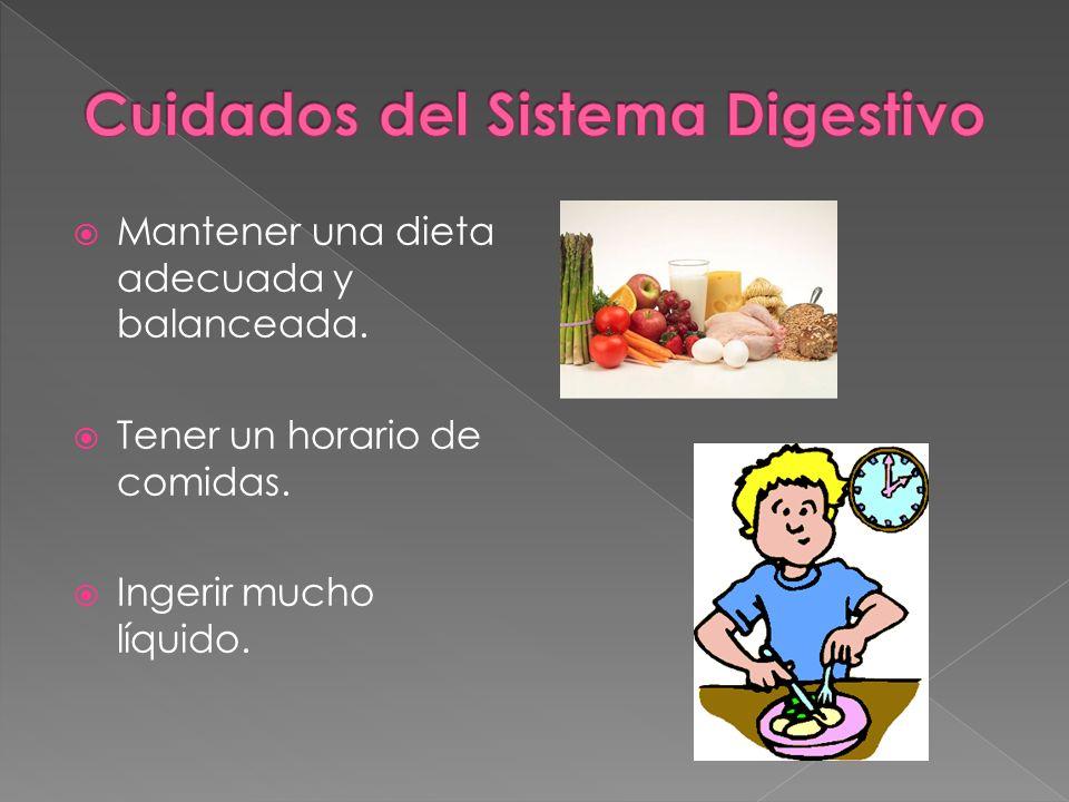 Mantener una dieta adecuada y balanceada. Tener un horario de comidas. Ingerir mucho líquido.