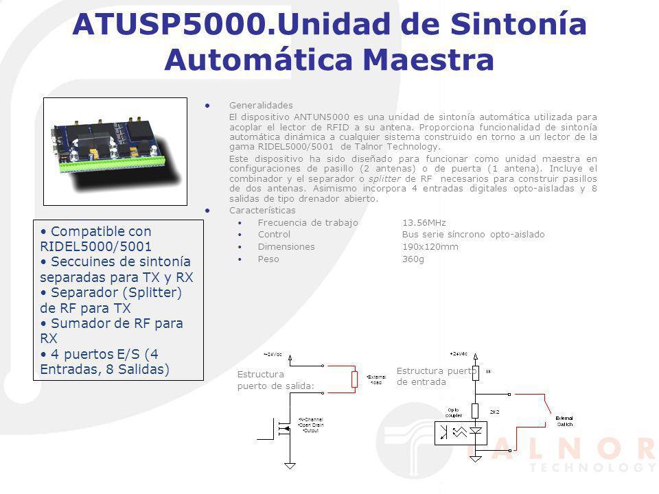 Generalidades El dispositivo ANTUN5000 es una unidad de sintonía automática utilizada para acoplar el lector de RFID a su antena. Proporciona funciona