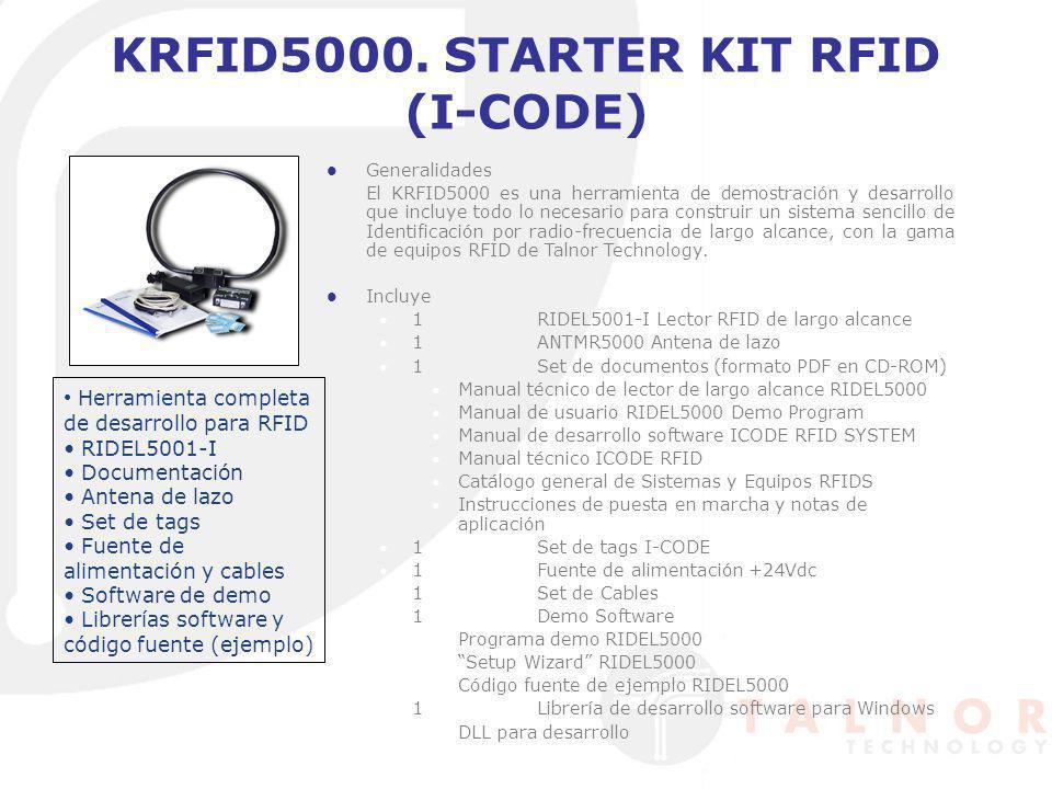 KRFID5000. STARTER KIT RFID (I-CODE) Generalidades El KRFID5000 es una herramienta de demostración y desarrollo que incluye todo lo necesario para con