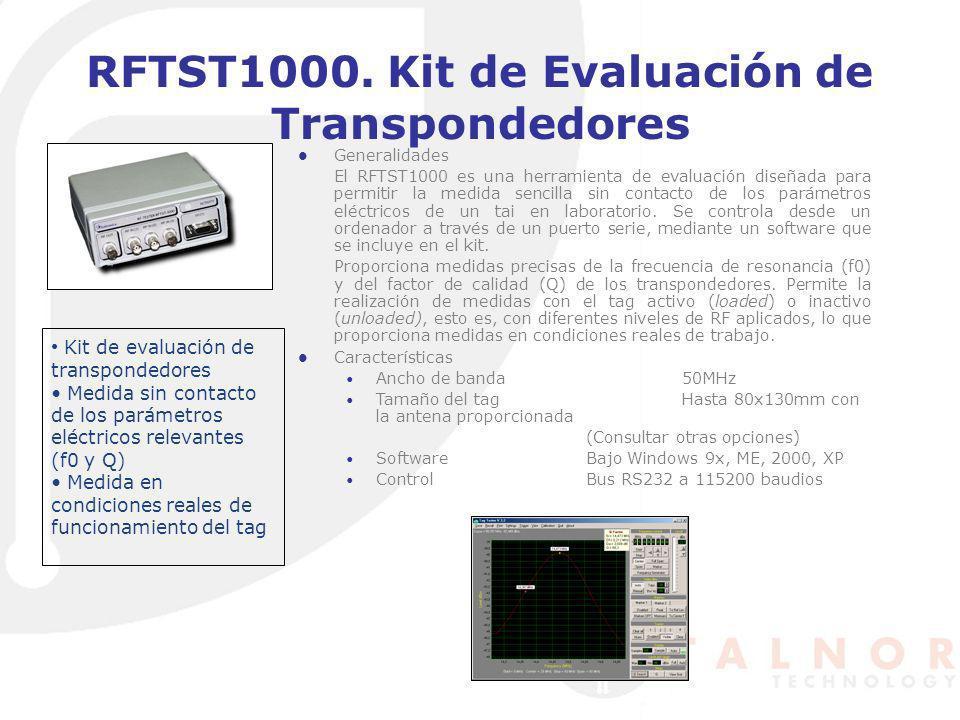 RFTST1000. Kit de Evaluación de Transpondedores Generalidades El RFTST1000 es una herramienta de evaluación diseñada para permitir la medida sencilla
