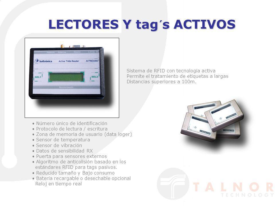 LECTORES Y tag´s ACTIVOS Número único de identificación Protocolo de lectura / escritura Zona de memoria de usuario (data loger) Sensor de temperatura