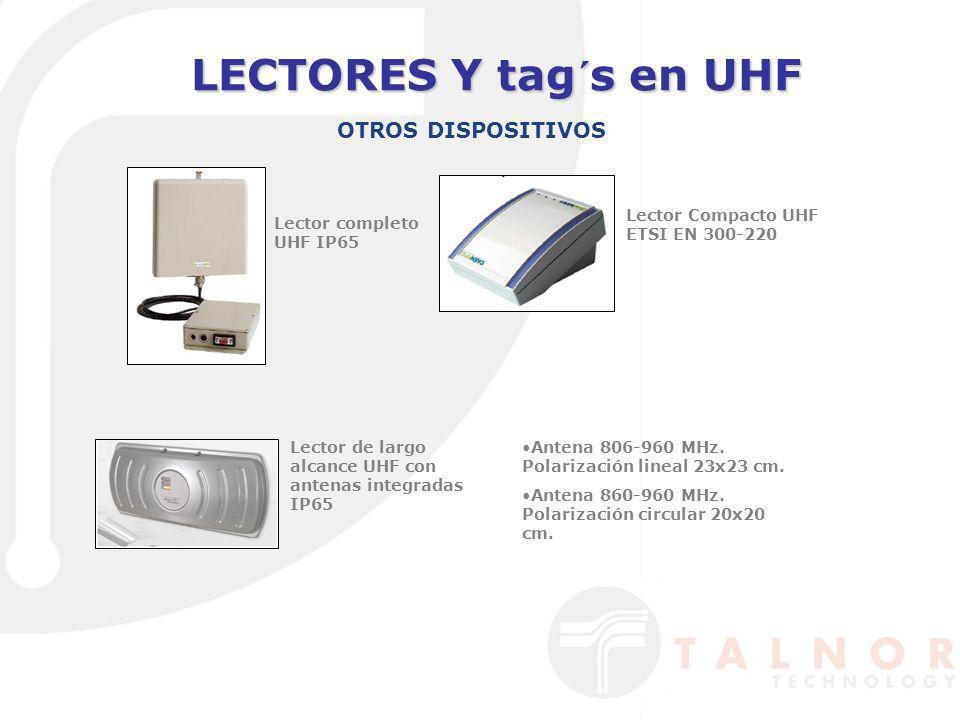 LECTORES Y tag´s en UHF OTROS DISPOSITIVOS Lector completo UHF IP65 Lector Compacto UHF ETSI EN 300-220 Lector de largo alcance UHF con antenas integr