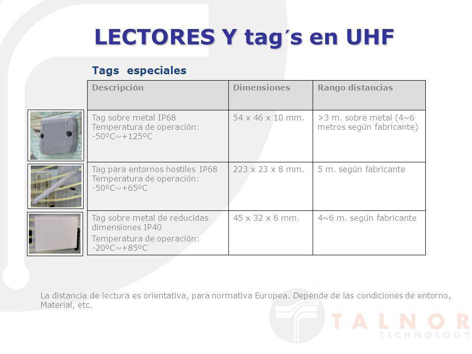 LECTORES Y tag´s en UHF Tags especiales La distancia de lectura es orientativa, para normativa Europea. Depende de las condiciones de entorno, Materia