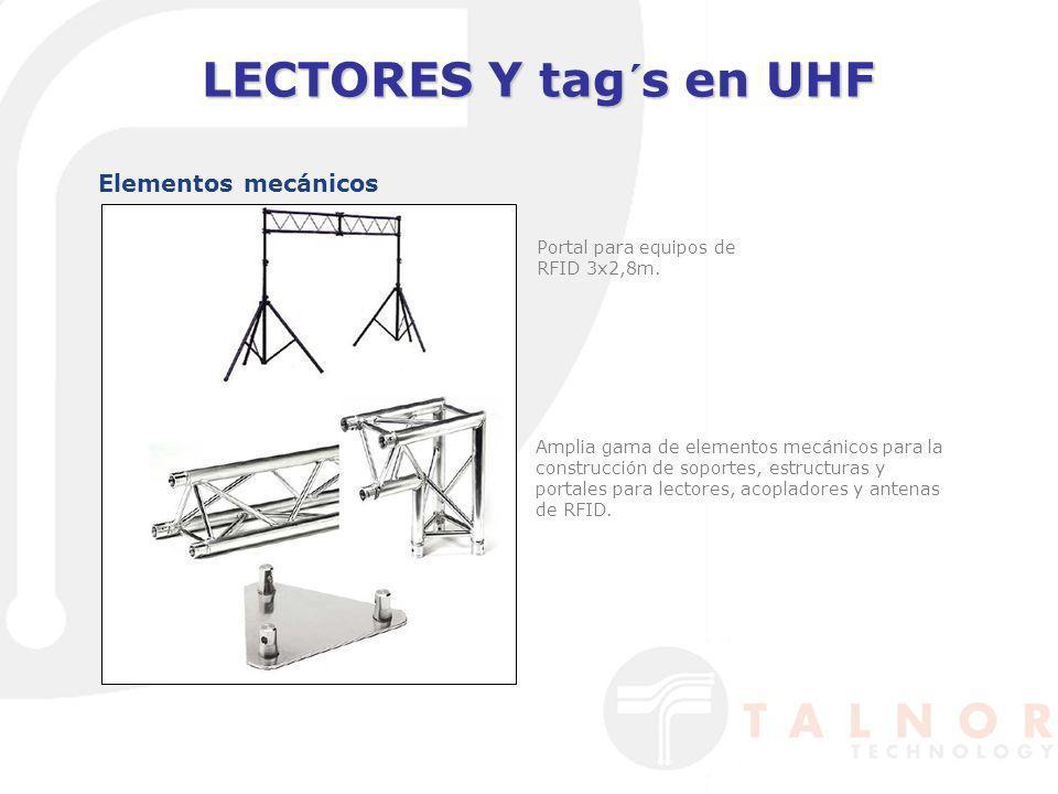 LECTORES Y tag´s en UHF Elementos mecánicos Portal para equipos de RFID 3x2,8m. Amplia gama de elementos mecánicos para la construcción de soportes, e
